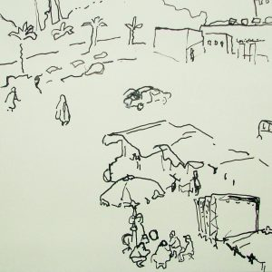 Djemaa el Fna # 2, 21 x 30 cm, ink on paper, 2002