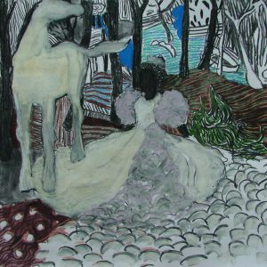 La Quinceañera # 2, 55 x 50 cm, charcoal and chalk on paper, 2006