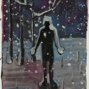Sneeuwman, oil on paper, 30 x 23 cm, 2008