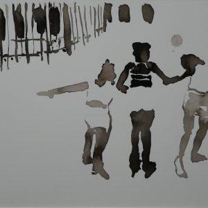 Rollerskate, ink on paper, 23 x 30 cm, 2008
