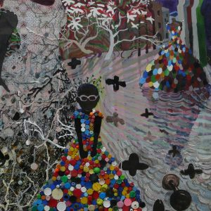 Las Mariposas, 150 x 180 cm, acrylic, oil, caps, beads and plastic on canvas, 2008