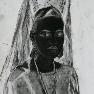 The veiled # 1 (Mantilla), 32,5 x 24 cm, black chalk on paper, 2010