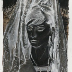 The veiled # 3 (Mantilla), 48 x 32 cm, ink, black and white chalk on paper, 2010