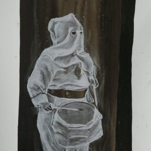 Drummer # 1, 48 x 32 cm, ink and white chalk on paper, 2010