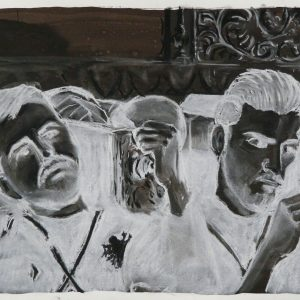 Costaleros, 32 x 48 cm, ink, black and white chalk on paper, 2010