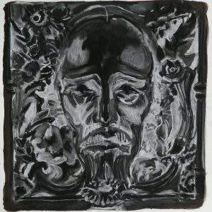 Inverse Jesus, 48 x 32 cm, ink, black and white chalk on paper, 2010