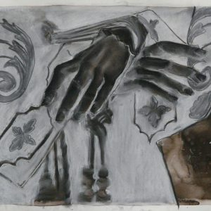 Tied up, 32 x 48 cm, ink, black and white chalk on paper, 2010