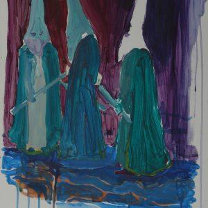 Viernes Santo # 1 (Los Nazarenos), 48 x 32 cm, acrylic on paper, 2010