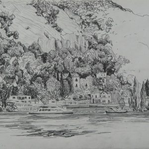 Danube riverbank Visegrád, 24 x 32 cm, pencil on paper, 2011