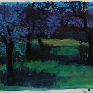 Orchard # 1 (Nagymaros), 32 x 48 cm, acrylic on paper, 2011