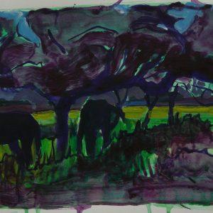 Orchard # 2 (Nagymaros), 32 x 48 cm, acrylic on paper, 2011