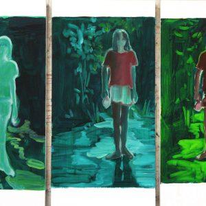 Almost Ten # 2 (Lucid Boy), (3 x) 50 x 25 cm, oil on paper