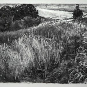 Crossroads # 3 (Germany), 30 x 56 cm, charcoal on paper, 2015