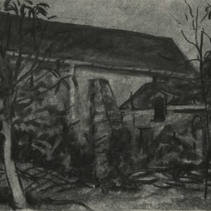 Grote schuur, 21 x 30 cm, charcoal on paper, 2015