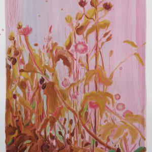Bermbloemen # 6, 50 x 35 cm, oil on paper, 2016