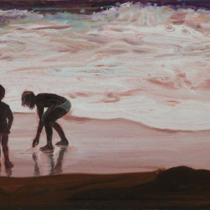 Vloedlijn # 3, 25 x 50 cm, oil on paper, 2016