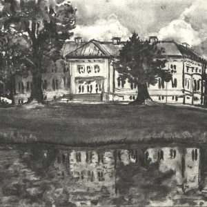 Slot Neuhardenberg (Brandenburg), 32 x 48 cm, charcoal on paper, 2016