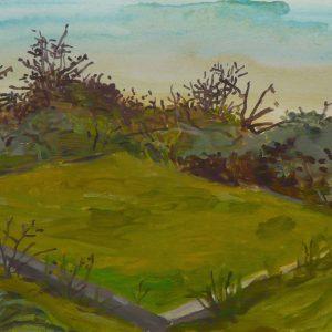 Veldje (Erebegraafplaats), 25 x 50 cm, acrylic on paper, 2017