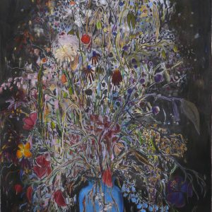 Blue Vase, 115 x 75 cm, mixed media on paper, 2017