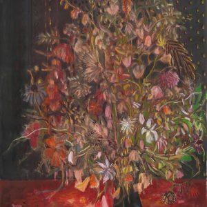 Dark Vase - Red Velvet, 115 x 75 cm, mixed media on paper, 2017