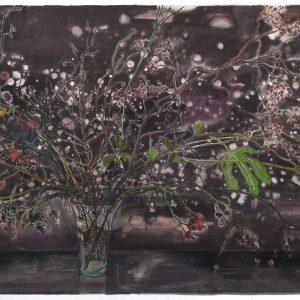 Starry Vase, 98 x 146 cm, mixed media on paper, 2017