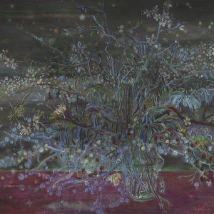 Starry Vase # 2, 75 x 115 cm, mixed media on paper, 2017