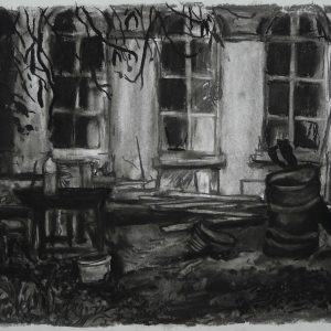 Oliedrum # 1 - Brouwerij Feys, 35 x 43 cm, charcoal and conté on paper, 2017