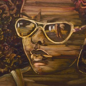 La Dorada - Glasses, 20 x 30 cm, oil on wood, 2018