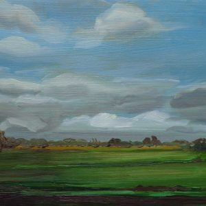 Laagland - Wolken, 20 x 30 cm, oil on wood, 2019
