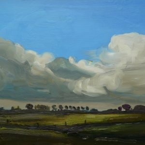 Laagland - Wolkendek, 20 x 30 cm, oil on wood, 2019