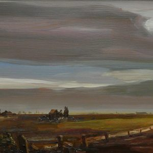 Laagland - Weg, 20 x 51 cm, oil on wood, 2019