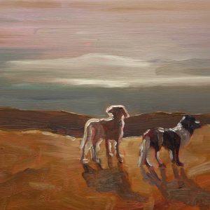 Duinen - Honden, 20 x 30 cm, oil on wood, 2019