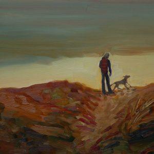 Duinen - Man, hond, 25,5 x 38,5 cm, oil on perspex, 2019