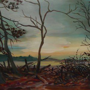 Duinen - Kreupelhout # 1, 35 x 50 cm, oil on perspex, 2019