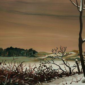 Duinen - Kreupelhout # 2, 35 x 50 cm, oil on perspex, 2019
