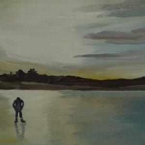 Duinen - ijs, 25,5 x 38,5 cm, oil on perspex, 2019