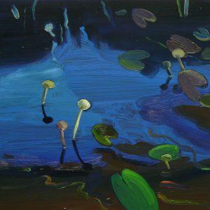 Pond # 2, 17 x 20 cm, oil on perspex on wood, 2020