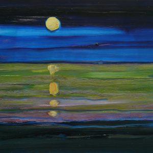 Moon, 17 x 20 cm, oil on perspex on wood, 2020