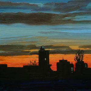 Skyline, 17 x 20 cm, oil on perspex on wood, 2020