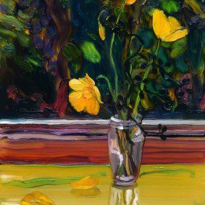 Vaasje, 20 x 17 cm, oil on perspex on wood, 2020