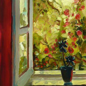 Rosegarden, 20 x 17 cm, oil on perspex on wood, 2020