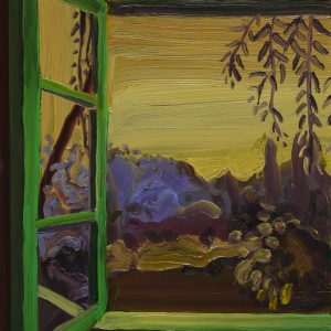 View - Green Window, 20 x 17 cm, oil on perspex on wood, 2020