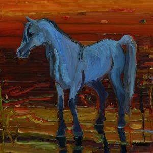 Blue Horse, 17 x 20 cm, oil on perspex on wood, 2020