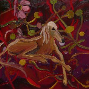 Greyhound # 3, 17 x 20 cm, oil on perspex on wood, 2020