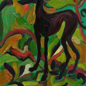 Greyhound # 4, 20 x 17 cm, oil on perspex on wood, 2020