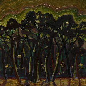 Pines, 20 x 17 cm, oil on perspex on wood, 2020