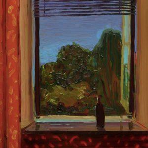 View - Black Bottle, 20 x 17 cm, oil on perspex on wood, 2020