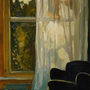 Curtain # 3, 20 x 17 cm, oil on perspex on wood, 2020