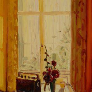 View - Radio, 20 x 17 cm, oil on perspex on wood, 2020