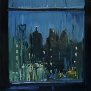 View - Rainy Day, 20 x 17 cm, oil on perspex on wood, 2020